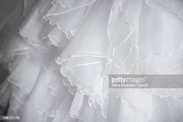 Close-Up Of Frills On Wedding Dress