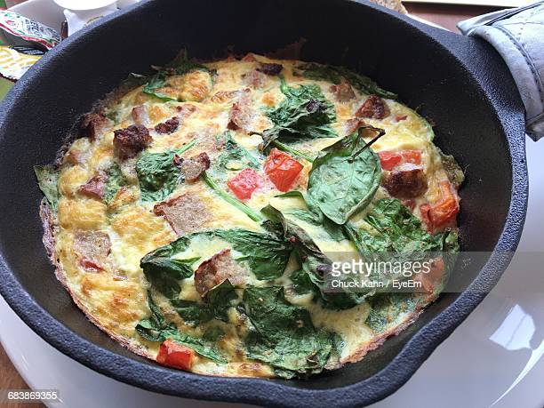 Close-Up Of Frittata In Skillet
