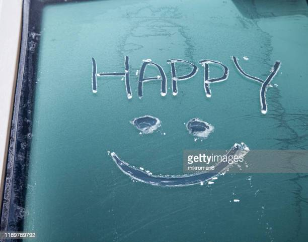 close-up of frost pattern on car - meteorology stock pictures, royalty-free photos & images