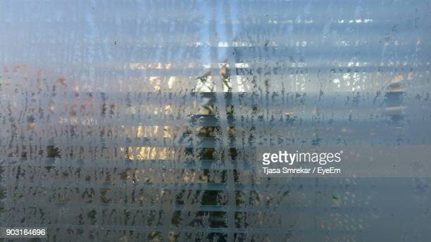 Close-Up Of Frosted Window