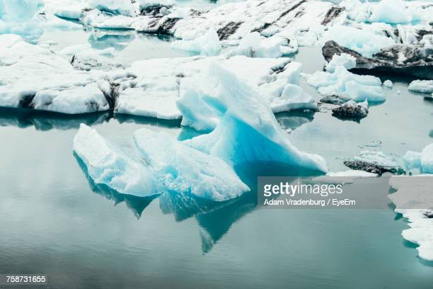 close-up of frozen lake - selfoss stock photos and pictures