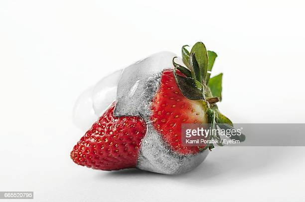 Close-Up Of Frozen Strawberry