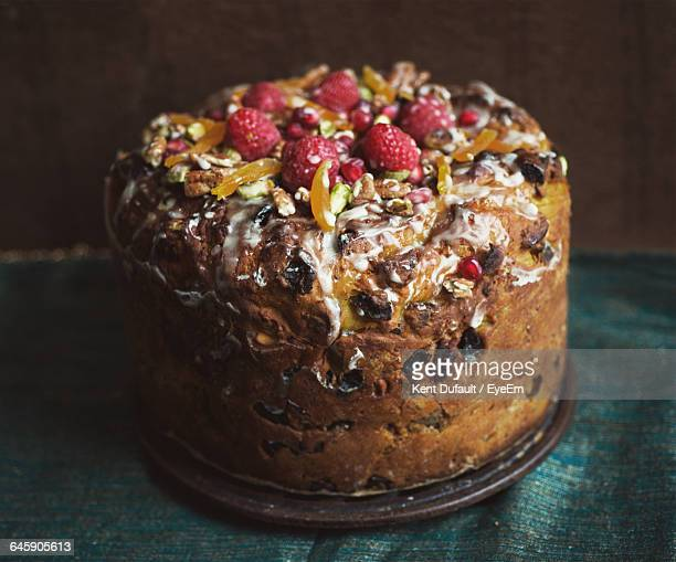 Close-Up Of Fruit Cake In Plate At Home During Christmas