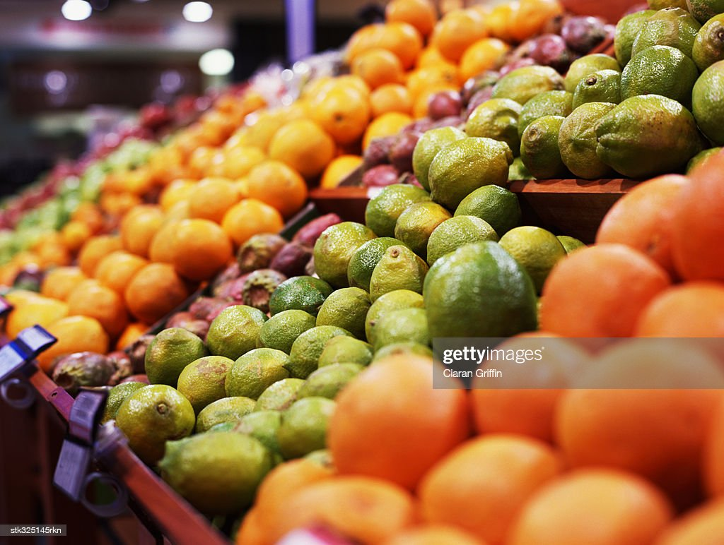 close-up of fruits on a shelf in a supermarket : Stock Photo