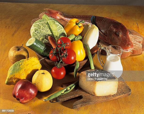 Closeup of fruits with vegetables and fish