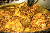 closeup frying delicious chicken fry pan