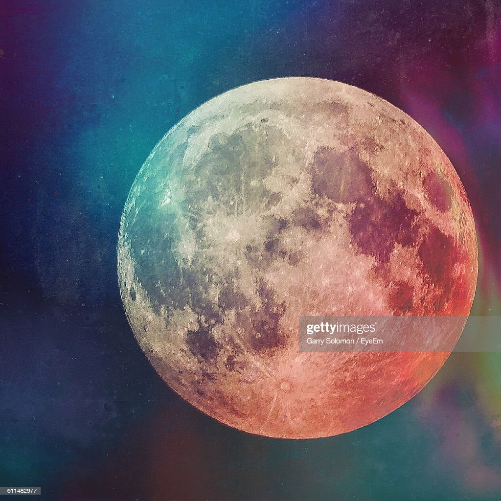 Close-Up Of Full Moon : Stock Photo