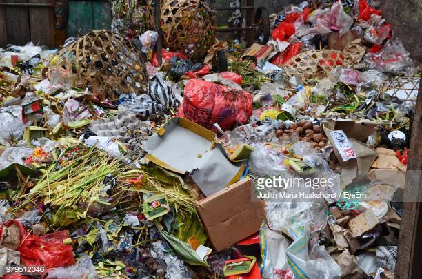 close-up of garbage dumped outdoors - food contamination stock photos and pictures