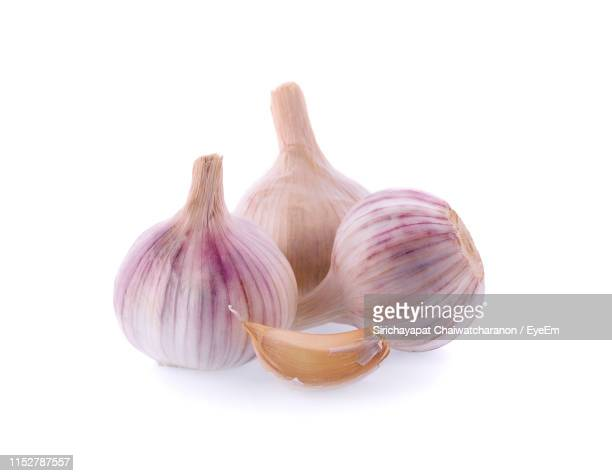 close-up of garlic against white background - garlic clove imagens e fotografias de stock