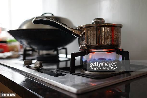 Close-Up Of Gas Cooker Hob