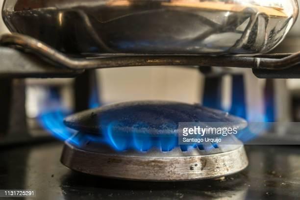 Close-Up of Gas Stove Burner and pot