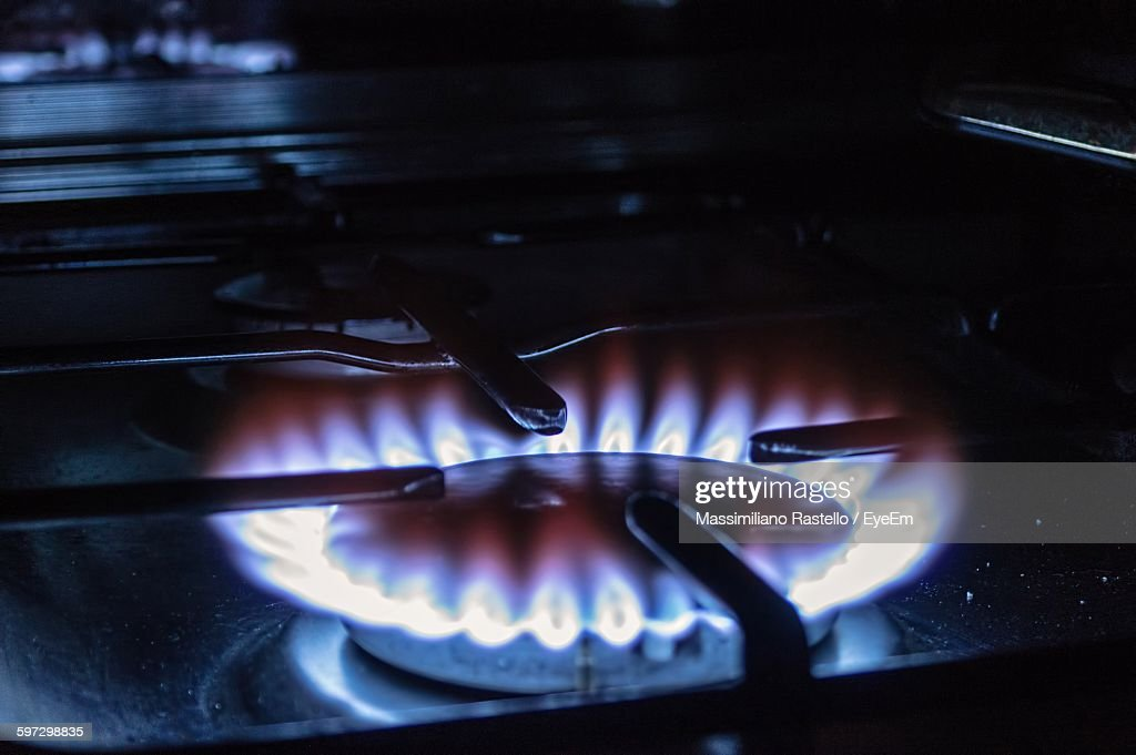 Close-Up Of Gas Stove Burner : Stock Photo