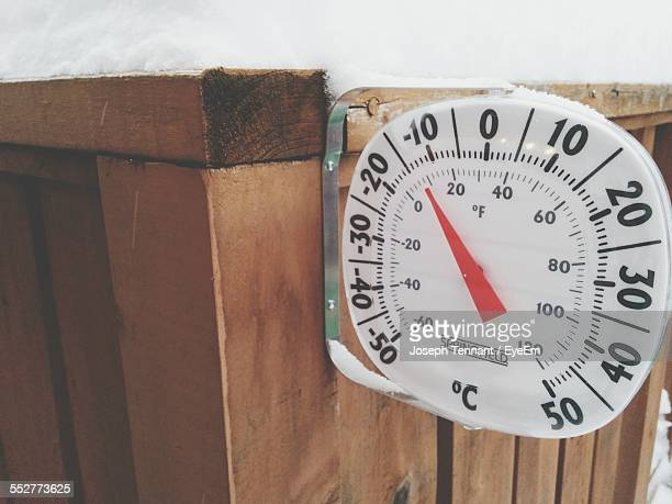 Close-Up Of Gauge On Snow Filled Crate