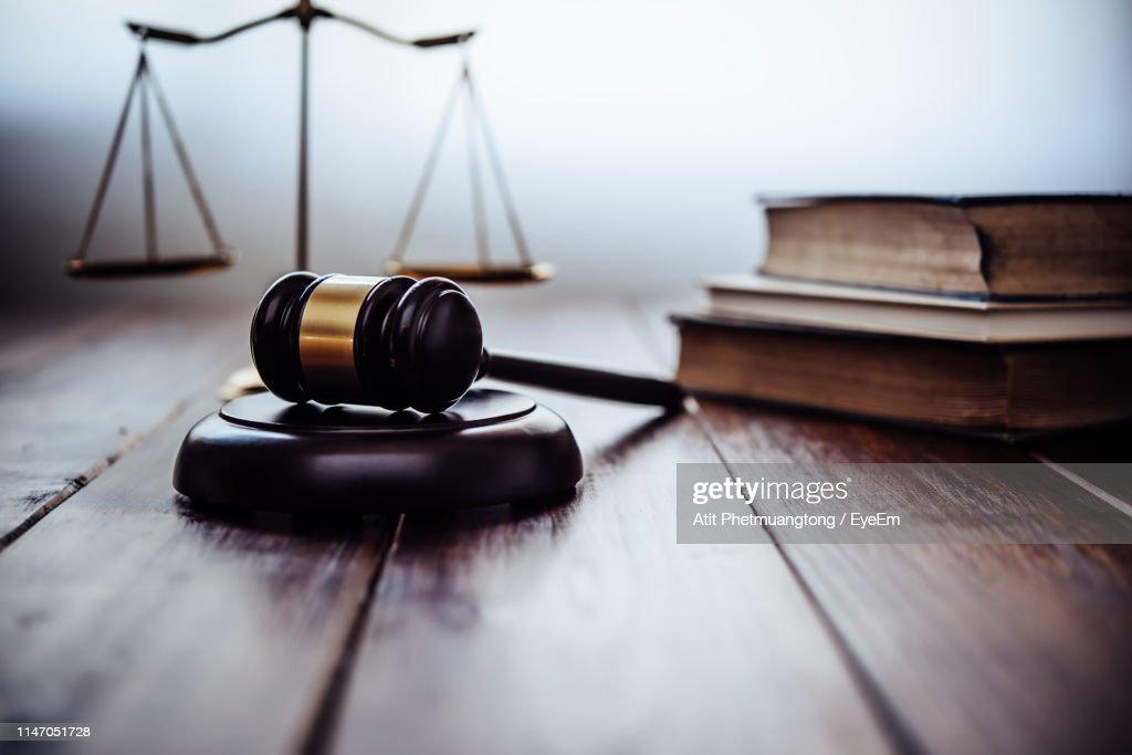 Close-Up Of Gavel On Table : Stock Photo