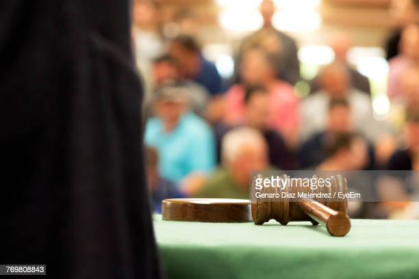 close-up of gavel on table - courtroom stock pictures, royalty-free photos & images