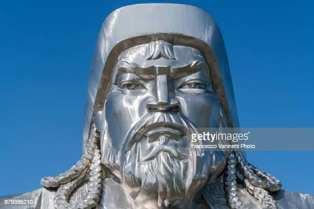close-up of genghis khan equestrian statue. erdene, tov province, mongolia. - genghis khan stock pictures, royalty-free photos & images