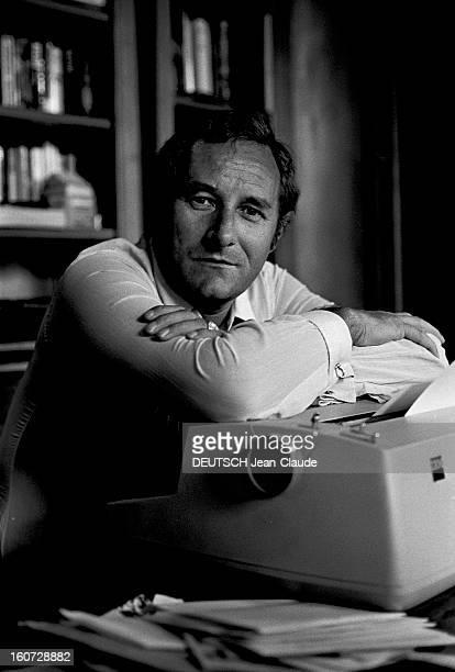 Close-up Of Gerard De Villiers, Author Of The Spy Novels Sas - Most Serene Highness Prince Malko Linge. Paris- 11 Juillet 1977- Chez lui, dans son...