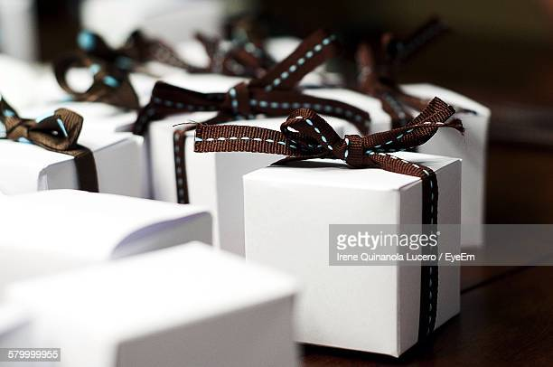 Close-Up Of Gift Boxes On Table