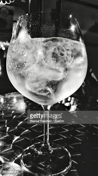 Close-Up Of Gin And Tonic Glass On Table