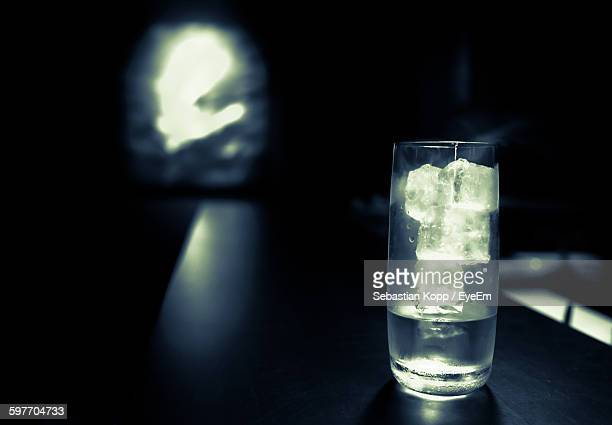 Close-Up Of Gin In Glass At Bar
