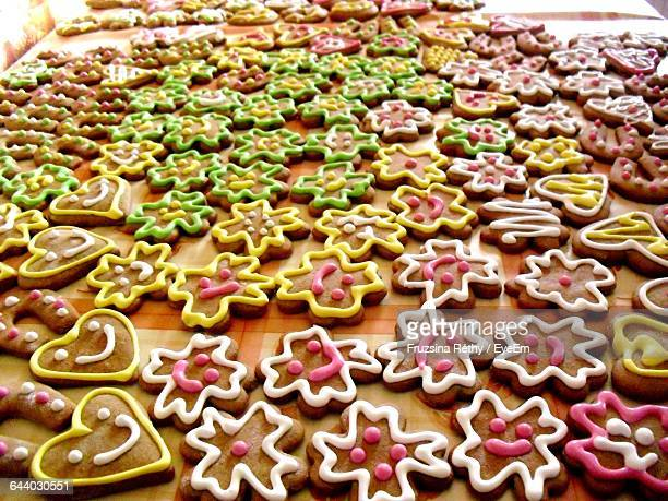 Close-Up Of Gingerbread Cookies Arranged On Table