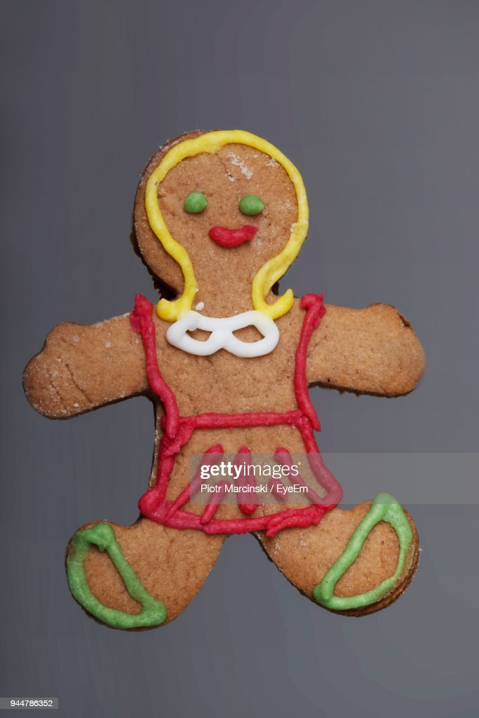 Close-Up Of Gingerbread Man On Gray Background : Stock Photo