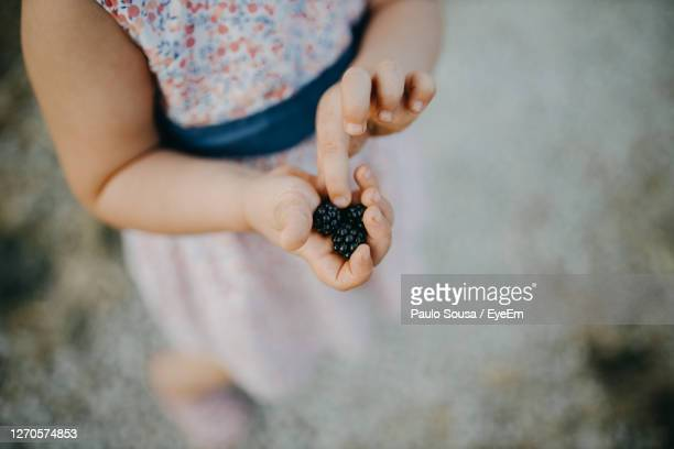 close-up of girl hand holding berries outdoors - mid section stock pictures, royalty-free photos & images