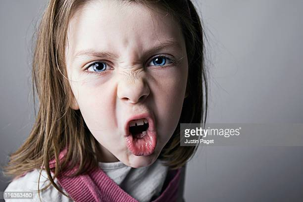 Close-up of girl (6-7) shouting