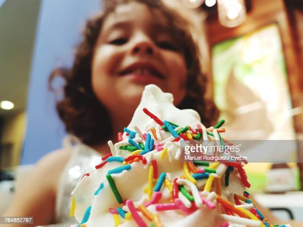 Close-Up Of Girl With Ice Cream