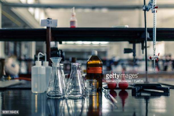 close-up of glass containers in laboratory - place of research stock pictures, royalty-free photos & images