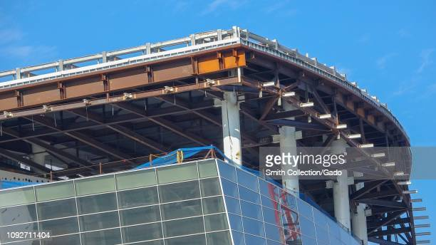 Closeup of glass facade under construction at Chase Center the new home of the Golden State Warriors basketball team in Mission Bay San Francisco...