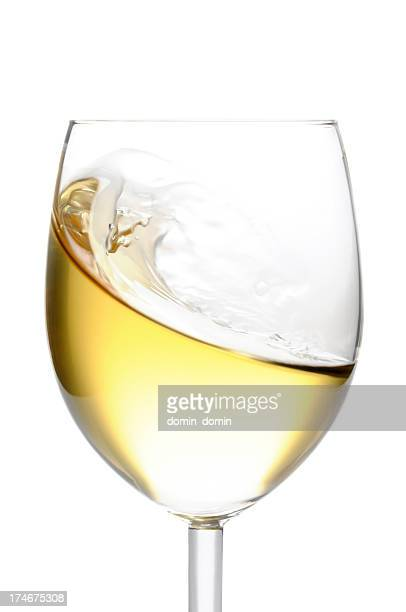 close-up of glass of white wine isolated on white background - white wine stock pictures, royalty-free photos & images