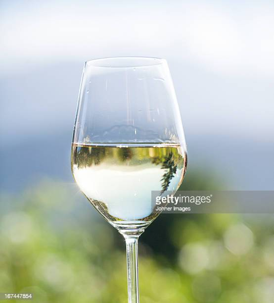 Close-up of glass with white wine
