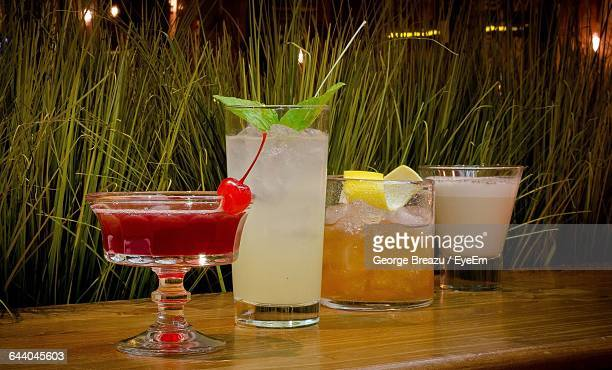 Close-Up Of Glasses Of Cocktails