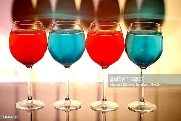 Close-up of glasses of drinks