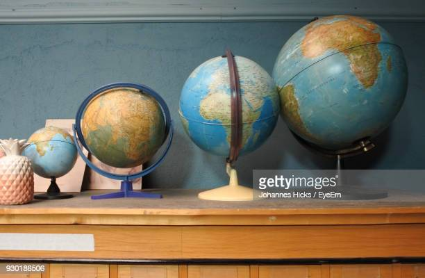 Close-Up Of Globes On Table