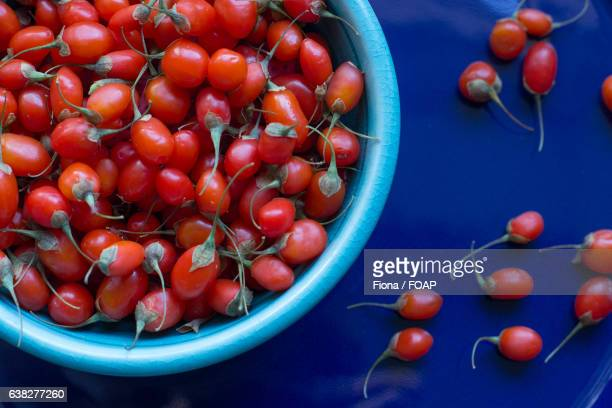 Close-up of goji berries on bowl