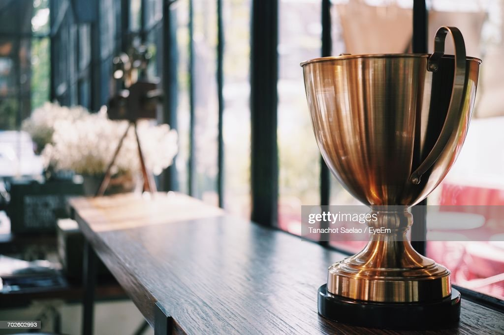 Close-Up Of Gold Cup : Stock Photo