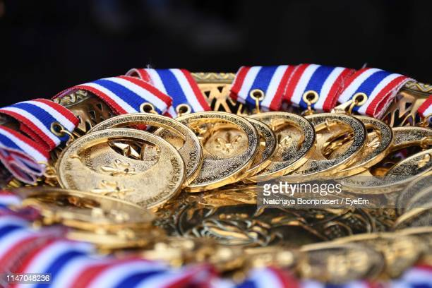 close-up of gold medals container - gold medal stock pictures, royalty-free photos & images