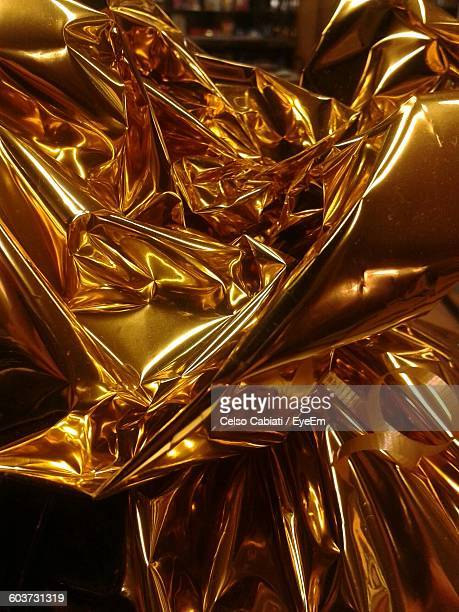 Close-Up Of Gold Wrapping Paper