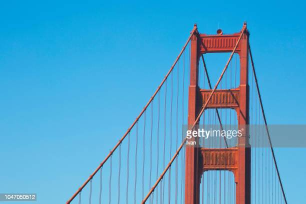 close-up of golden gate bridge with bluesky - clear sky stock pictures, royalty-free photos & images