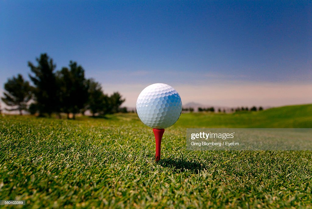 Close-Up Of Golf Ball On Grass : Stock Photo