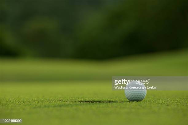 close-up of golf ball on playing field - golfe imagens e fotografias de stock