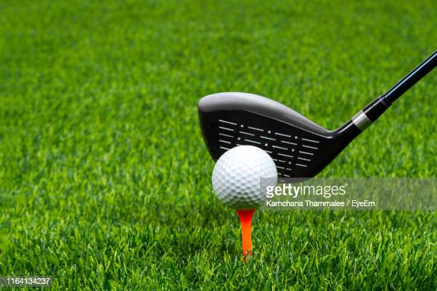 close-up of golf club and ball on grassy land - golfbaan green stockfoto's en -beelden