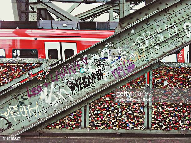 close-up of graffiti on metallic beam - cologne stock pictures, royalty-free photos & images