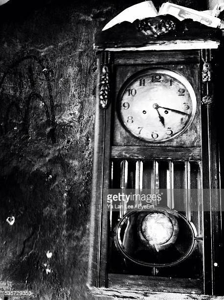 Close-Up Of Grandfather Clock At Home
