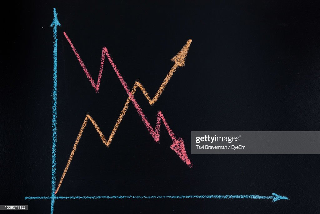 Close-Up Of Graph Chalk Drawing On Black Background : Stock Photo