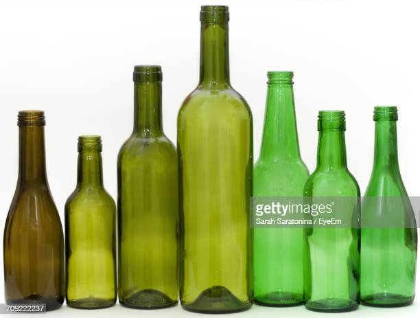 Close-Up Of Green Bottles