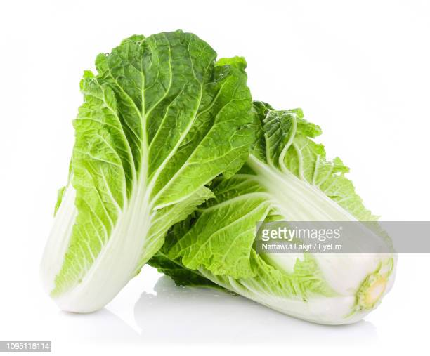 Close-Up Of Green Cabbage Against White Background