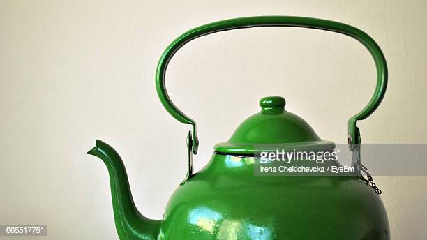 Close-Up Of Green Color Tea Kettle